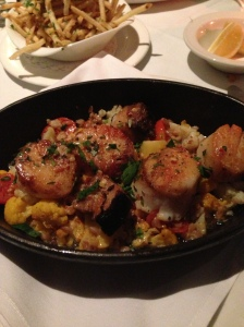 Delicious scallop entree with a sweet chili butter.