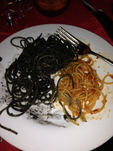 Delicious squid ink pasta! (Thanks Suresh and Nicole!)